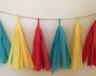 Blue Yellow and Red Tissue Tassel Garland Circus Tassel Garland Circus Decorations Carnival Tassel Garland Carnival Decorations Birthday Dec
