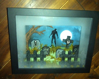 3-D Cemetery Scene Shadow Box Frame
