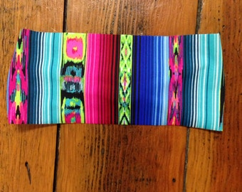 Aztec Print Headband, Tribal Print Headband, Spandex headband, Black & white headband, Stretch headband, yoga headband, workout headband