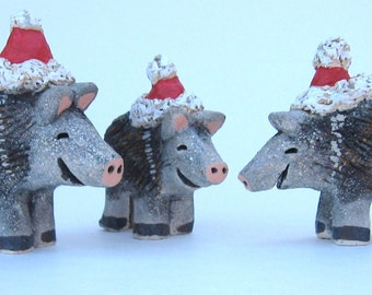 Southwest Javelina Family in Santa Hats, from Sedona, Arizona, Handmade for Christmas by Karlene Voepel, Micaceous Clay. Set of 3!