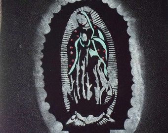 Virgin Mary of Guadalupe Back Patch painted from hand cut stencil