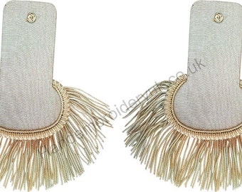 Silver Bullion Shoulder Epaulettes with Fringe Marching Band Epaulette
