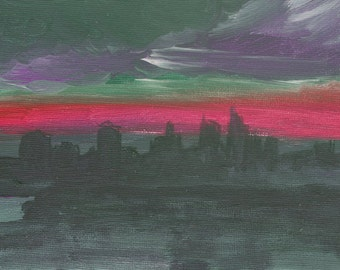 Skyline art print cityscape painting Red Dusk print of original painting Urban art gift idea