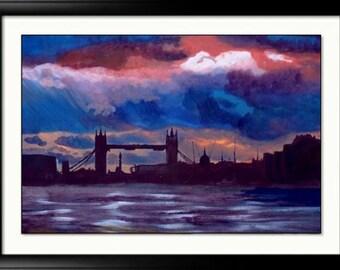 London skyline Painting art print Tower bridge - London cityscape gift idea