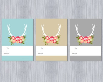 Antler Floral Trio Gift Tags