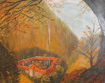 Vintage forest landscape castle oil painting signed