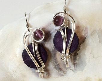 Unique Earrings, Purple Drop Earrings, Wire Work Earrings, Boho Jewelry, Coconut Shell Earrings, Wire Wrapped Jewelry
