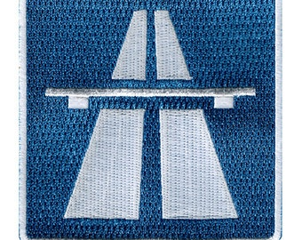 AUTOBAHN ROAD SIGN patch iron-on embroidered Germany Highway