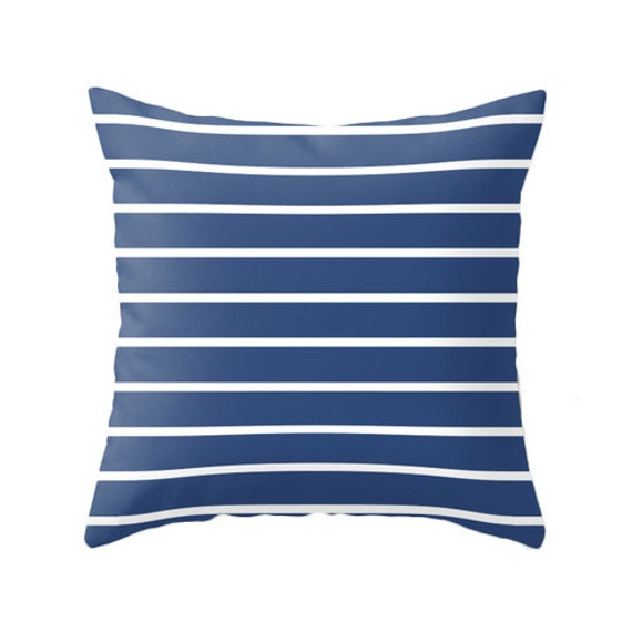 Blue Striped Decorative Pillows : Navy blue and white striped throw pillow navy blue stripes