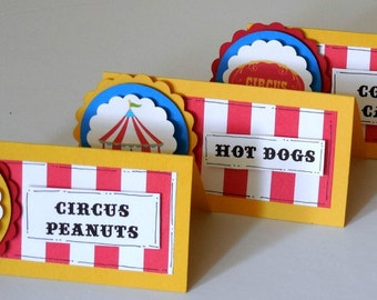 Place Cards - Buffet Cards -  Table Tents - Circus - Big Top Birthday - Carnival Party - Ships in 1-3 Days