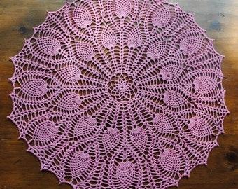 Pink Pineapple Crochet Doily, Spring doily