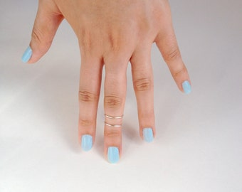 Knuckle Ring,Set of 2 Bands, Above the Knuckle Ring Midi Stacking,Dainty Silver or Gold Ring