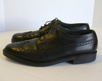 Vintage Men's Black Leather Wingtip Oxford Dress Shoes 10 D FREE SHIPPING