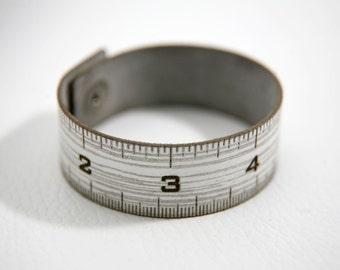 Ruler laser cut leather cuff bracelet