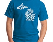 Detroit Lions, Tigers, Wings OH MI! Michigan Outline Screen Print T-Shirt Royal Shirt, Sizes S-5XL Great gift for any Michigander