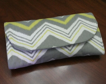 All-in-One Diaper Clutch with Built in Changing Pad - Travel clutch and changing pad - Yellow and Grey Chevron