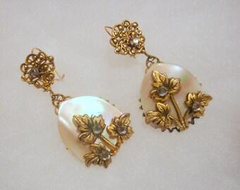 Vintage 1950's Mother of Pearl Earrings