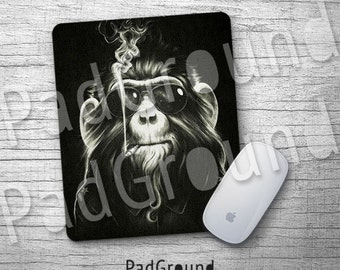 Monkey Mouse Pad, Smoking Ape Mousepad, Mouse Mat, Office Decor, Desk Accessories, Kids Gift, Soft Fabric rubber backing Mouse Pad - KCMY01