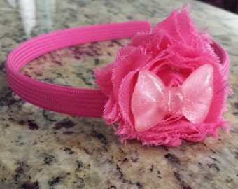 Pink Flower Headband accented with a Pink Bow