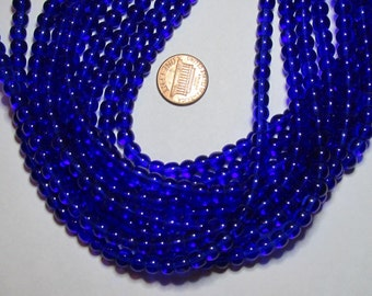 One Strand of 6mm Round Glass Beads- Sapphire Blue- about 50 beads on a strand
