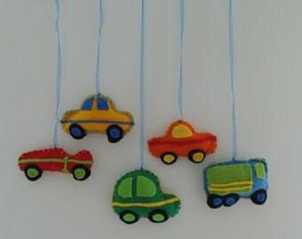 handmade felt mobile 'cars'