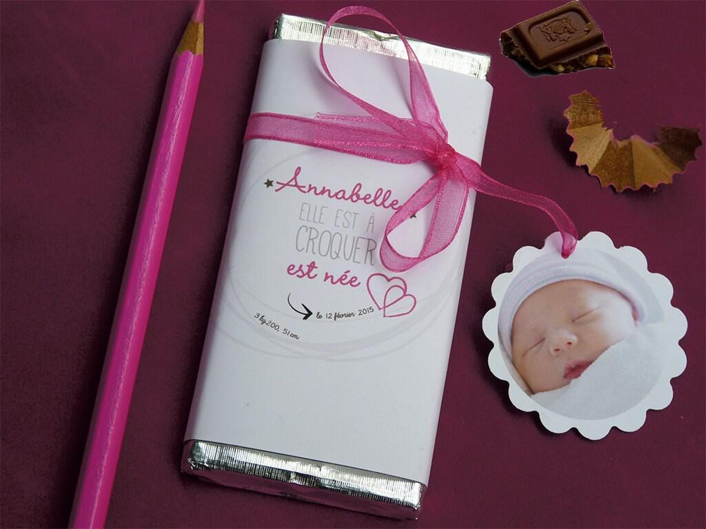 Favori faire-part naissance mini tablette chocolat YO68