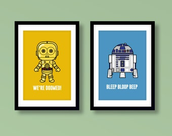 Star Wars inspired wall art, kids wall art, Star Wars, R2-D2, C-3PO, droids, Star Wars nursery, Star Wars wall art, Star Wars kids room