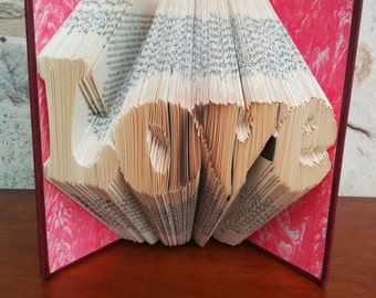 Love - Folded Book Art - Fully Customizable, wedding, anniversary, valentine's day