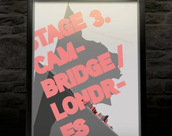Le Tour de France 2014 UK Stage 3 commemorative Bike print/Bike poster (Limited Edition) typographic • modern • cool • industrial