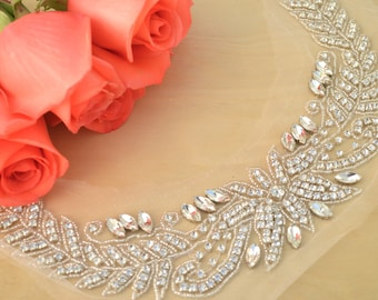 Filicia's Neckline Rhinestone Applique Handmade Silver Rhinestone Applique with Beaded Detailing in a Long U-Shape