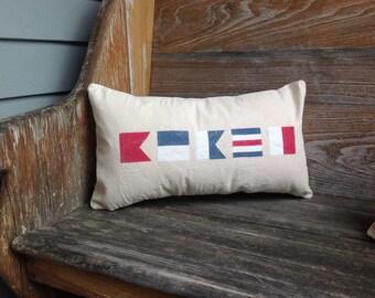 Nautical Flag Pillow, Custom ,w/ INSERT