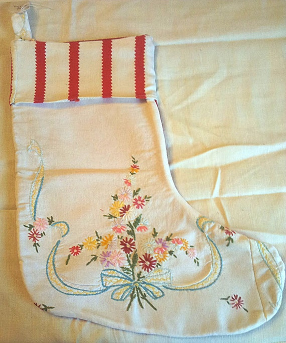 SALE!!!  Vintage Fabric Christmas Stocking  SALE  was 20  now  14  SALE!!!