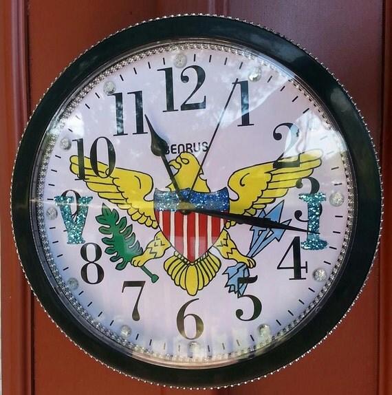 Virgin Islands Clock 9.68 IN Hand Drawn Hand Painted