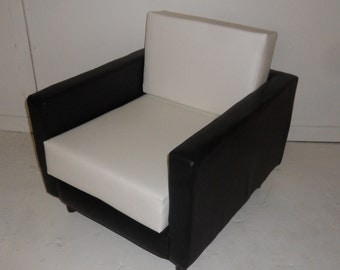 American Diner Urban Retro Chair Upholstered In A Premium Black And White Faux Leather