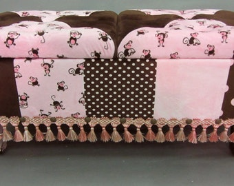 Adorable Child's Bench Upholstered in Plush Minky Pink Monkey Fabric