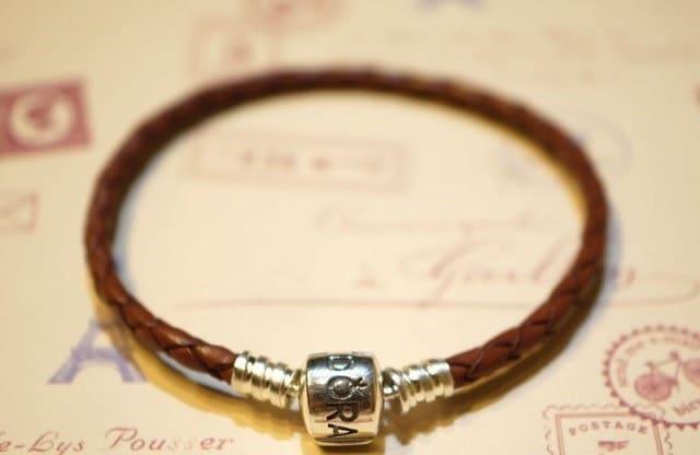 Pandora leather bracelet braided single loop brown