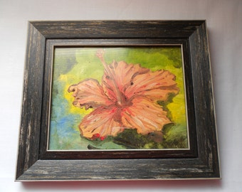 Pink Hibiscus Flower Oil Painting