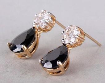 black sapphire 18k gold filled earrings