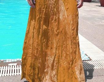 Long Gypsy Skirt - Boho - Lightweight- Elasticated Waist - Fade Tones-Yellow