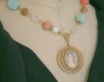 Antique Compact Gemstone Assemblage Necklace