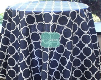Tablecloth - Premier Prints - LINKED Circle Chain- Blue White - Choose Your Size - Table Linen Wedding Home Decor Dining Kitchen