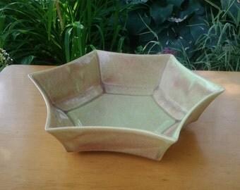 West Coast California Pottery Glazed Starburst Bowl ~ MidCentury ~ Vintage Bowl ~ California Pottery ~ Pottery Star Bowl
