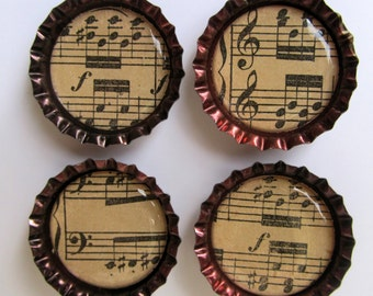 Vintage Sheet Music Bottlecap Magnets - set of 4