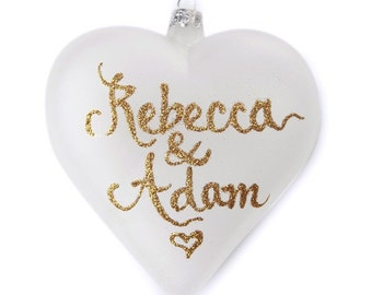 Personalised Frosted Glass Heart