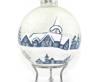 Frosted Handpainted Glass Christmas Winter Church Bauble