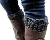 Knit Grey Boot Cuffs Chunky Leg Warmers Boot Socks Reversible // THE HUNTER CUFFS