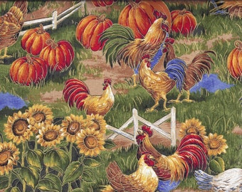 Roosters in the Fall Pumpkins Sunflowers Farm Curtain Valance