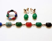 Vintage Jewerly set - Egyptian stone scarab bracelet, scarab earrings, scarab brooch estate jewelry
