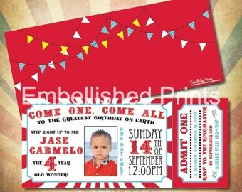 Personalized Carnival Themed Ticket Invitation 4x9