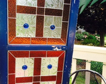 Repurposed Window with Stained Glass